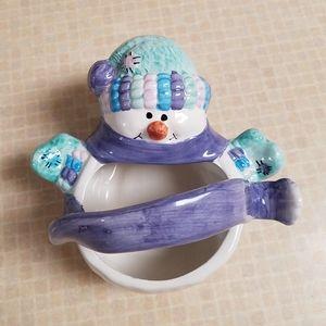 Ceramic Snowman Basket